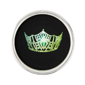 Miss America Lime Green Crown Lapel Pin