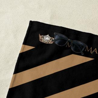 Miss America Mocha Stripe Crown Beach Towel