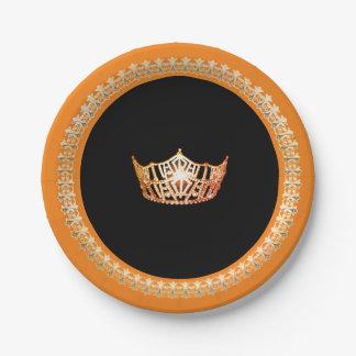 "Miss America Orange 7"" Paper Plates"