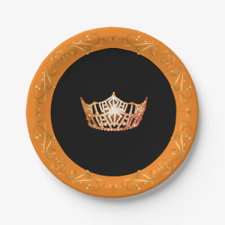 "Miss America Orange Crown 7"" Paper Plates"