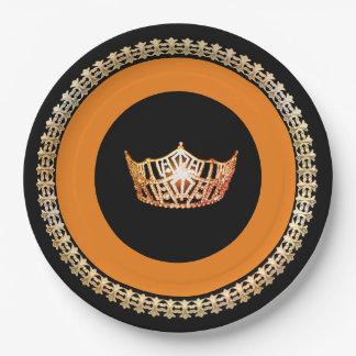 "Miss America Orange Crown 9"" Paper Plates"