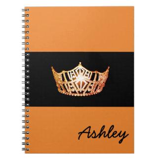 Miss America Orange Crown Notebook-Custom Name Notebook