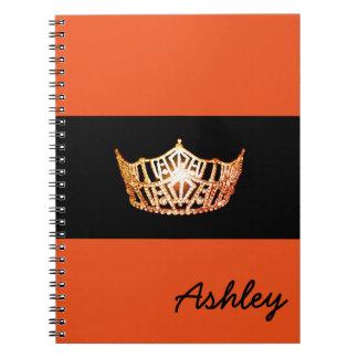 Miss America Orange Crown Notebook-Custom Name Spiral Notebook