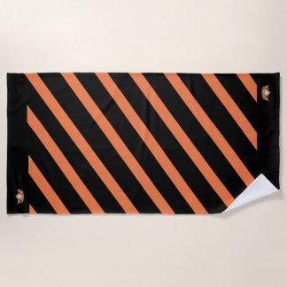 Miss America Orange Stripe Teal Crown Beach Towel