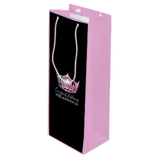Miss America Pink Crown 2-Tone Pink Gift Bag-Wine Wine Gift Bag