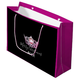 Miss America Pink Crown Fuchsia Gift Bag-Christmas Large Gift Bag