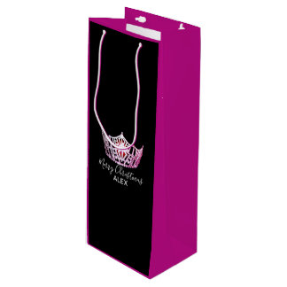 Miss America Pink Crown Fuchsia Gift Bag-Christmas Wine Gift Bag