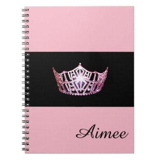 Miss America Pink Crown Notebook- Custom Name Notebook