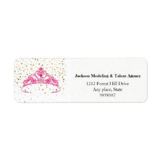 Miss America Pink Tiara Stars Crown Address Labels