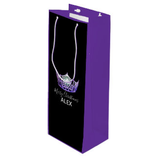 Miss America Purple Crown PRPLE Gift Bag-Christmas Wine Gift Bag