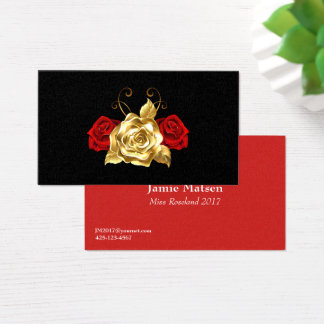 Miss America Red and Gold Roses Business Cards