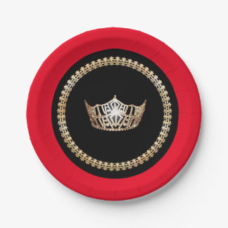 "Miss America Red Gold Crown 7"" Paper Plates"