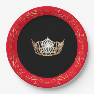 "Miss America Red Gold Crown 9"" Paper Plates"