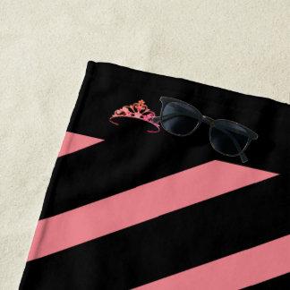 Miss America Rodeo Coral Stripe Crown Beach Towel