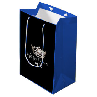 Miss America Silver Crown Blue Gift Bag-Christmas Medium Gift Bag