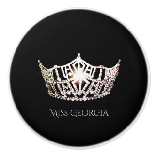 Miss America Silver Crown Ceramic Cabinet Knob