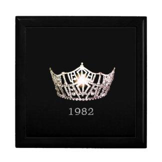 Miss America Silver Crown Custom Date Jewelry Box