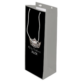 Miss America Silver Crown Gray Gift Bag-Christmas Wine Gift Bag