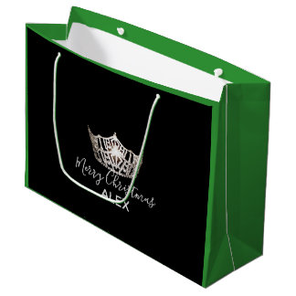 Miss America Silver Crown Green Gift Bag-Christmas Large Gift Bag