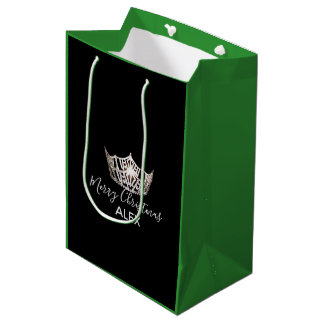 Miss America Silver Crown Green Gift Bag-Christmas Medium Gift Bag