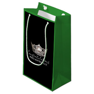 Miss America Silver Crown Green Gift Bag-Small Small Gift Bag