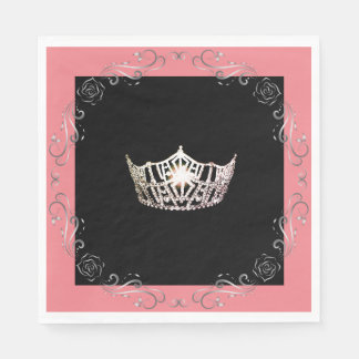 Miss America Silver Crown Luncheon Paper Napkin