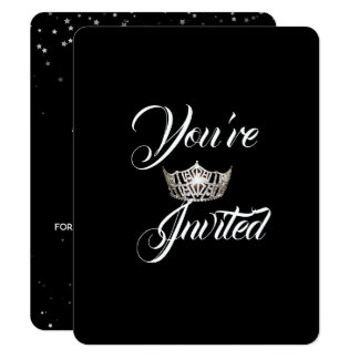 Miss America Silver Crown Party Invitation-Stars Card