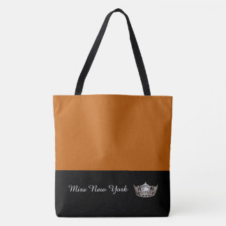 Miss America Silver Crown Tote Bag-Large Pumpkin