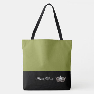 Miss America Silver Crown Tote Bag LRGE Olive