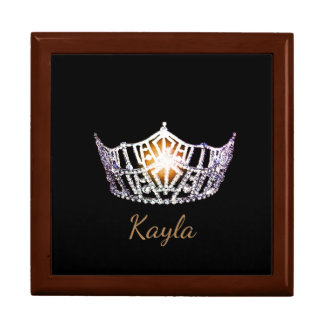 Miss America SLVR Crown Personal Name Jewerly Box Large Square Gift Box