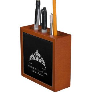 Miss America SLVR Tiara Wood Desk Organizer-Title Desk Organiser