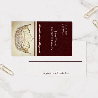 Miss America style Brown-Gold Crown Business Cards