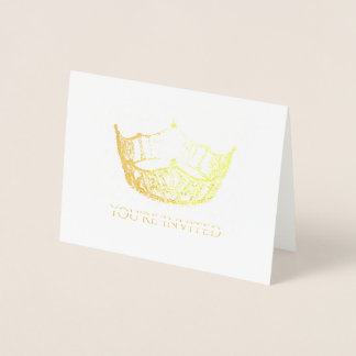 Miss America Style Gold Foil Crown Invitation-Sm Foil Card