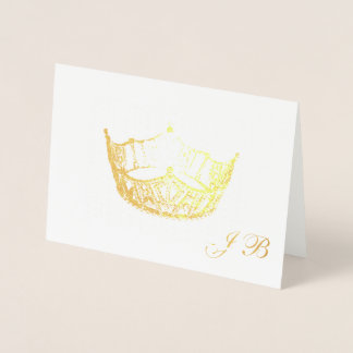 Miss America Style Gold Foil Crown Monogram Card