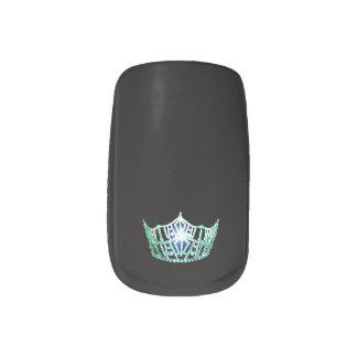 Miss America style Minx Nails Green Crown Minx Nail Art