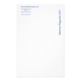 Miss America style On The Side Letterhead Personalized Stationery