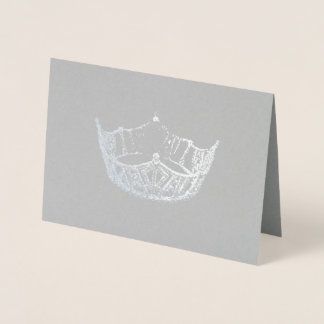 Miss America Style Silver Foiled Crown Card