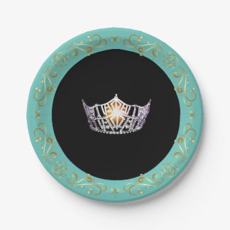 Miss America Turquoise Silver Crown Paper Plates