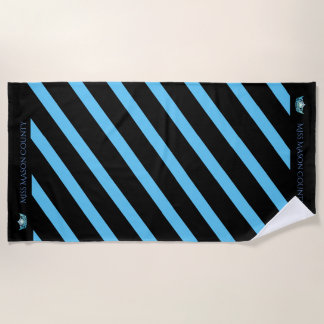 Miss America Turquoise Stripe Crown Beach Towel