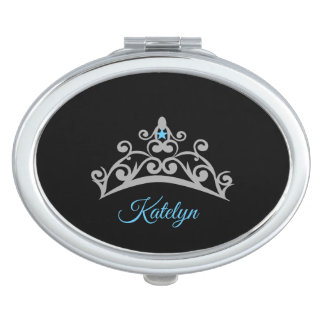 Miss America USA Silver Crown Compact Mirror-Name Makeup Mirror