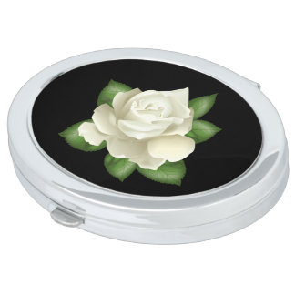 Miss America White Rose Compact Mirror