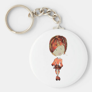 Miss-fit Ginger Digital Art Girl Basic Round Button Key Ring