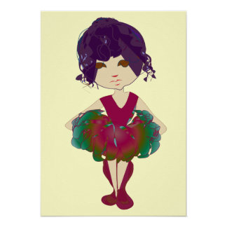 Miss-fit Pink and Green tutu Ballerina art Poster