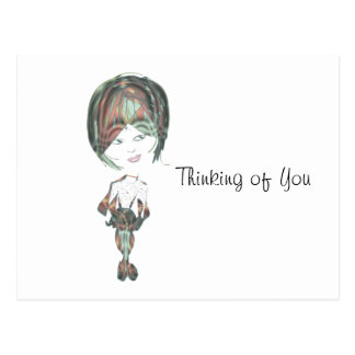 Miss-fit River Digital Girl art Postcard