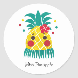 Miss Hawaiian Pineapple Classic Round Sticker