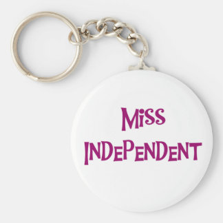 MISS INDEPENDENT BASIC ROUND BUTTON KEY RING