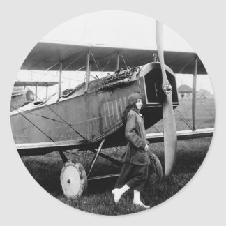 Miss Katherine Stinson and her Curtiss aeroplane Classic Round Sticker