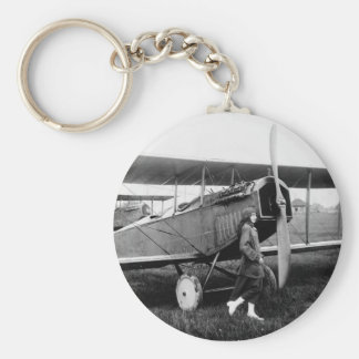Miss Katherine Stinson and her Curtiss aeroplane Key Chain