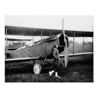 Miss Katherine Stinson and her Curtiss aeroplane Postcard