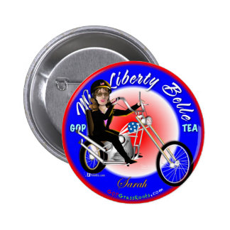 Miss Liberty Belle 6 Cm Round Badge